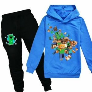 Minecraft Boys Girls Hoodie Tops Pants Sets Long Sleeve Tracksuit Outfit