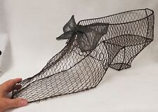 Antique Advertising Giant Hand Made Wire Ladies Shoe with Bow
