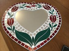 Hand Made Mosaic Heart Shaped Mirror Made In Bali Hanging Mirror NEW 6658