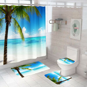 SeaSide Shower Curtain Set Bathroom Rug Thick Bath Mat Non-Slip Toilet Lid Cover