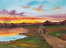 """Mal.. Burton pintura al óleo artística original """"los primeros caminar con perro Amanecer"""""""