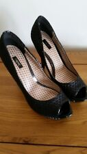 NEXT Heels / shoes black woven fabric UK 7 / 41 v good condition peep toe