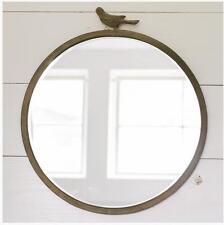 "Rustic Farmhouse 18"" Round Mirror with Bird Detail"