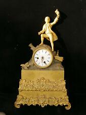 """à restaurer Horloge Pendule CHARLES X """"le naufragé"""" bronze doré H:43 cm x 26 cm"""