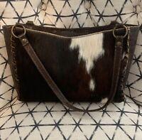 MAURICIO Taiuti Cowhide Hair Leather Croc Handbag Made In Italy Purse