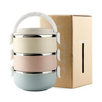 3 Tier Nordic Stainless Steel Lunch Box Insulation School Multilayer Thermal Box