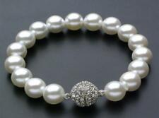 "AAAA 10mm white South Sea Shell Pearl Bracelet 7.5"" Magnet clasp"