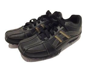 NEW Skechers Mens Leather Sneakers Shoes Size 8.5M SN64455 Memory Foam Black/Tan