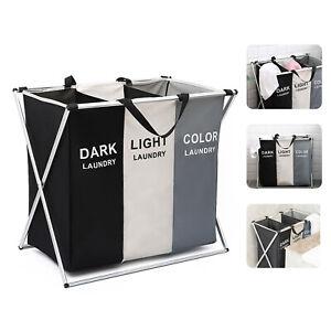 Laundry Clothes Basket Wash Hamper Bin Aluminium Folding Grid Dirty Storage Bag