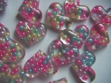 """Valentine Heart Flatback Resin Cabochon - 5 pc NEW  1.25"""" Hearts with Beads NEW"""