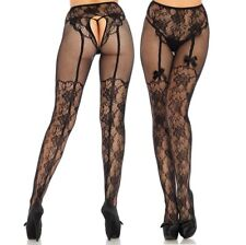 Suspender Crotchless Tights.  Colour : Black   Size : One Size (UK 8-12)
