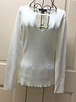 INC Washed White Ribbed Sweater Keyhole Tunic Top M NWT