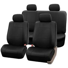 PU Leather Seat Covers for Car SUV Van Full Seat Covers Set Solid Black
