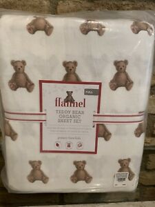Pottery Barn Kids Teddy Bear Flannel Full Size Sheet Set Holiday Christmas New