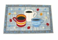 """COFFEE CUPS MUG  KITCHEN HOUSE AREA RUG ACCENT 17x28"""" NONSKID TEA COLORFUL BEANS"""