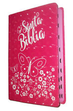 Biblia Para Mujer Reina Valera 1960 Letra Grande, Indice, Rosa Fuscia, Mariposa