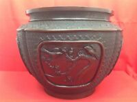 JAPON 19° Ère Meiji 明治時代 Tres grand et rare cache pot bronze patiné ciselé