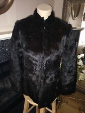 Couture Dark Brown Rabbit Fur Asian Silk Lining Jacket Coat REVERSIBLE Small S