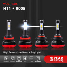 120W 15600LM LED Headlight 9005+H11 6000K Clear White High & Low Bulbs 2 Sets