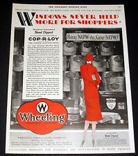 1930 OLD MAGAZINE PRINT AD, WHEELING CORRUGATED PRODUCTS, HAND DIPPED IN ZINC!