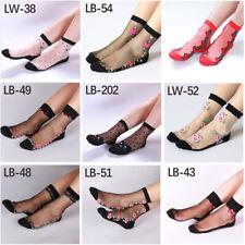 Women Fashion Crystal Sheer Thin Ice Silk Black Lace Ankle Flower  Socks #jm