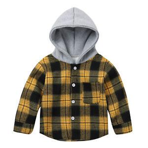 Baby Boys Jacket Long Sleeve Grid Style Hoodie Coat Velvet Outerwear Winter Tops