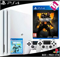 PS4 PLAYSTATION 4 PRO 1TB BLANCA 2 MANDOS BLANCOS CALL OF DUTY BLAK OPS4 FORNITE
