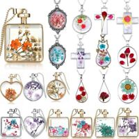 Natural Dried Flower Real Rose Square Round Heart Glass Locket Pendant Necklace