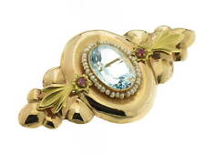 SPILLA oro rosa 18kt anni '50 topazio azzurro e radici rubino