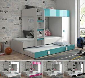 Hochbett Etagenbett mit Schrank TELLY 2 für 2-3 Kinder hochglanz weiß grau rosa