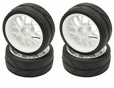 Apex RC Products 1/10 On-Road White Mesh Wheels / V Tread Tires #5017