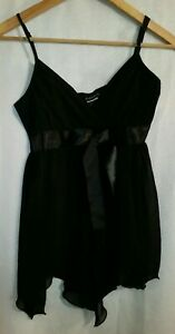 Fredericks Of Hollywood Black Satin Sexy Teddy Baby Doll Size Small New with Tag