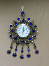 Turkish Nazar Glass Evil Eye Wall Clock Hanging Charm with Blue Stones  32 cm