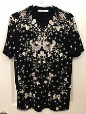Givenchy Flower Floral Crystal Embroidered Cotton T Shirt Top Black Size xxs