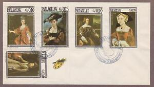 Paraguay # 1002 a-e Paintings of Women FDC - I Combine S/H