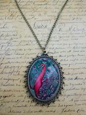 Vintage Bronze Pink Colourful Peacock Feather Cameo Jewellery Necklace