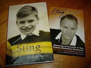 STING-BROKEN MUSIC-SIGNED-1ST-2003-HB-F-SIMON & SCHUSTER-VERY RARE