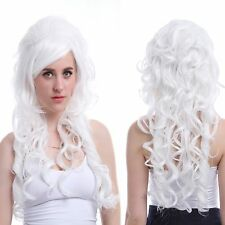 Women Long White curly Wave Vampiress Countess Synthetic Cosplay Full Wig ZY65B