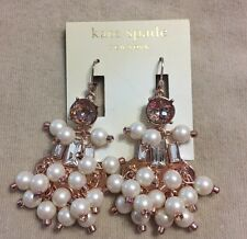 Kate Spade Clink Clink Wedding Rose Gold And Pearl Dangle Earrings NWT $128