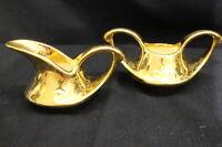 2pc Vintage Pearl China 22KT Gold Wash Hand Decorated Floral Sugar Bowl, Creamer