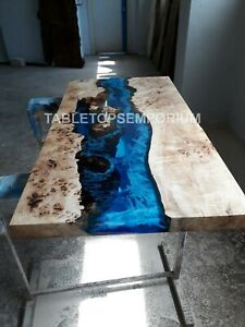 Special Blue River Epoxy Table, Acacia Deep Sea Blue Table, epoxy dining table