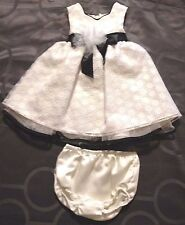 Size 3 - 6 Months Girl White/Ivory & Black Dress w Bloomers by Bonnie Baby