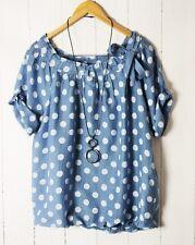 ITALY Leichte Tunika Bluse Oversize  38 40 42 Vintage Blau Punkte Dots NEU