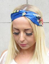 Bleu Rose Blush Satin Kimono Imprimé Rose Turban Nœud Bandeau Tourbillon Boho