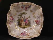 ~19c Antique Meissen Dresden German Porcelain Portrait Hand Painted Plaque Dish~