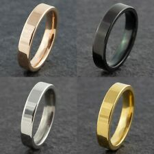 4mm Stainless Steel Mens Womens Wedding Band Rose Gold Silver Black Ring J to Z1