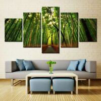 Refresh Green Bamboo Painting Nature Poster Wall Art Home Decor 5pc Canvas print