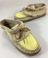 Eastland Womens 10M Casco Taupe Yellow Fringe Suede Moccasins Ankle Shoes