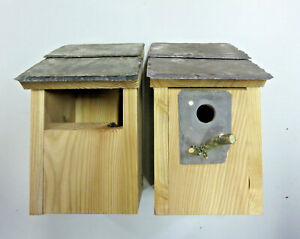 2 x Bird House Nesting Boxes Welsh Slate Open front & 25mm Hole Robins blue Tits
