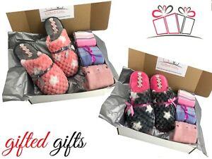 Slipper Gift Set, Ladies Mule & 3 Pairs Socks, Birthday Christmas & Mothers day